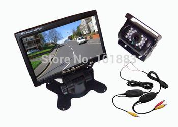 "Wireless IR Reversing Camera + 7"" LCD Monitor Car Rear View Kit"