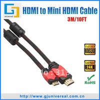 3M 10FT Mini HDMI Male to HDMI Male Cable, 1.3V Nylon Net Gold Plated, 1080P for Tablet PC Camera Mobile Phone, HDMI059-3