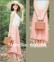 free shipping 2014 Fashion Korean Women's Lace Chiffon Sweet Pleated Long Summer Beach Sun Casual Dress#5179