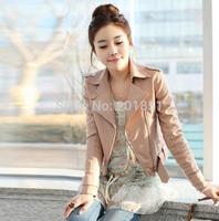 XS-XXXL Black,Pink Free Shipping 2014 Korea Fashion Autumn Women's Zippered Leather Jacket High Quality Turn down Collar Coat