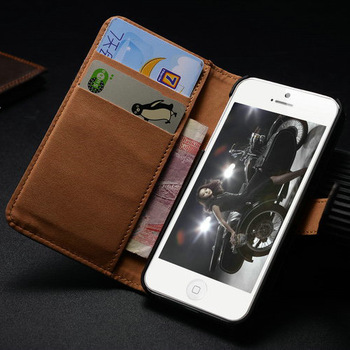 Geniune smooth leather case for iPhone5s with wallet design and card holder flip cover for iphone5g Free screen protector