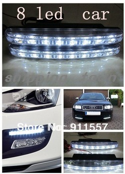 12V Free shipping 8 LED Universal Car Light DRL Daytime Head Lamp Super White#A0002