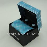 2014 Free shipping Fashion Handmade polyester ties Men's silk neckTie with box Necktie +cufflinks+handkerchief 2013
