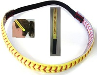 Discount cheapest real leather yellow softball seam headband 200 pcs/lot