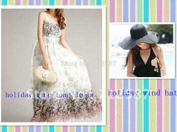 Bohemian Lotus Leaf Embellished Braces Chiffon Dress one size + holiday wind hat~free shipping#5184