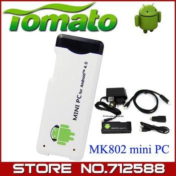 New 1GB DDR3 RAM 4GB ROM Allwinner A10 MK802 Android 4.0 Mini PC IPTV Google Internet TV Box Smartkey TV Fast Shipping