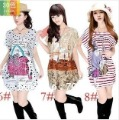New Design 2013  Size Plus Womens Flower Print Loose Dress all country free shipping 10pcs/lot