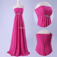 GK Elegant Women Peach Blue Yellow White Strapless Sequins Beaded Prom Long Chiffon Bandage Celebrity Evening Dress 2014 CL3105