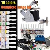 Complete Tattoo Kit Machine Gun 10 Color Inks Power Supply K-4