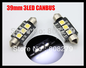 2pcs/Pair Canbus 39mm 3 Led white blue NUMBER PLATE LIGHT LED BULB 239 C5W Error Free