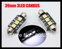 2pcs/Pair Canbus 39mm 3 Led white blue NUMBER PLATE LIGHT LED BULB 239 C5W Error Free