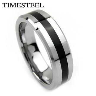 TSR023 Fashion Men's Titanium Rings Center Cool Black 6mm Wide U.S Size 7-13