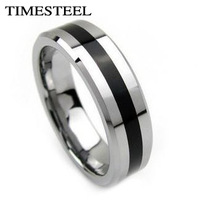 TSR023 Fashion Men's Titanium Rings Center Cool Black 6mm Wide U.S Size 7-13