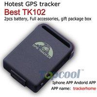Original TK102B GPS Tracker Phone APP tracking 4band  1pcs battery full accessories! Retail box! Web&Free PC GPS tracking system