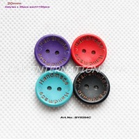 (5colors,150pcs/lot) 'Handmade' laser wooden button sew wood mix colors button 20mm-BY0254C