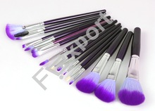 16Pcs Purple Makeup Brushes Professional Make Up Tools Set with Cosmetic Bag 16A