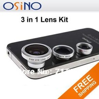 NEW 3 in 1 Wide + Macro +180 Fish Eye Lens Kit Se for iPhone 4 4S iPad 2 iPod