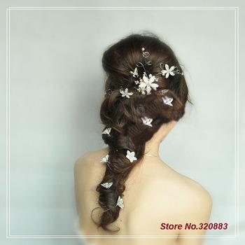 Free Shipping! Wholesale 12Pcs/Lot! Silver Lotus flower 2 styles Bridal hair pin wedding Hair accessory  TH015