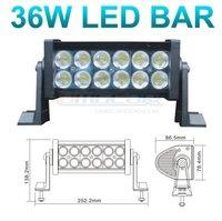 Free shipping 2PCS/lot 36w LED ALLOY work LIGHT BAR 4WD boat UTE offroad lamp flood 12v 24v