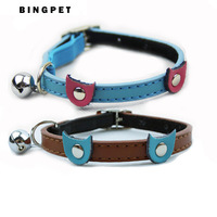 Free Shipping!(12pcs/lot)leather designer blue cat face decoration cat collars