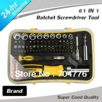 Super good Brand new 61-In-1 Professional car Repair Hand Tools set Screw drivers/Torx Hex/Sockets chrome vanadium steel