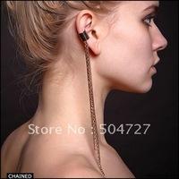 "Metalic gold&silver ear cuff tassel chain 16cm/6.3"" celebrity jewellery 2013 NEW free shipping (E1078)"