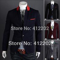 NEW 2011 Men's Fashion Slim Fit Up Collar Designed Coat Jacket 4 Size gray FREE SHIPPING(X07)
