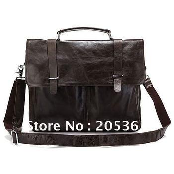 Brand New Real Vintage Cow Leather Men's Briefcase Laptop Bag Handbag Messenger bag #6057J Hot Selling