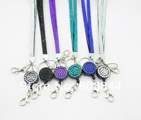 Colorful crystal lanyards with ID badge holder Crystal decorative lanyard rhinestone lanyard strap DHL free shipping