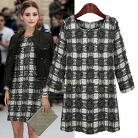 New 2014 Spring Women's Smart Causal Long sleeves Blue White Grey Plaid Dress Winter Woolen Blended Body mini dress Vestudo