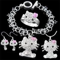 Promotion! Hello kitty Necklace & Bracelet & Earrings & Ring Jewelry Set, Fashion Silver Jewelry Set T212 (Minimum Order is $15)