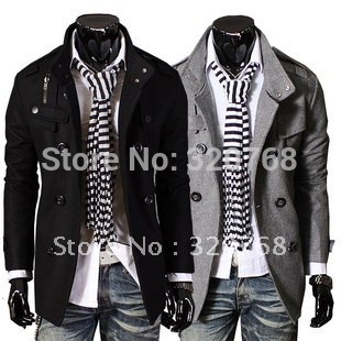 Free Shipping2014 Hot Men's Jackets Double Platoon To Buckle LiLing Badges Dust Coat Male Coat Color:Black,Gray Size:M-L-XL-XXL