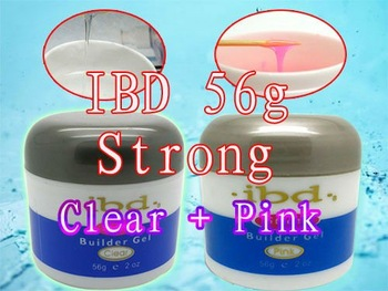 Super! !  Made in 2014! Clear + Pink 2 PCS 56 g / 2 oz Strong  IBD UV Builder Gel Nail Art Tips with Powerful Gift