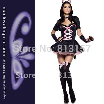 Free Shipping 4PC Sexy Adult Purrfectly Prettu Kitty Costume ML5013 Half Sleeve Design Black  And Pink Sexy Catwoman Costume