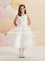 New Fashion Cap Sleeve A-line Girls Party  Dresses White Communion Dresses Lace HS209