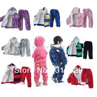 New Sportwear with Fur/Plush Striped Kids Children Winter More Designs/Colors Hoodies+Pants 2pcs Suit Warm clothes clothing set