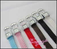 women elegance braid knit quartz watches with leather band, korea fashion, free shipping for retail