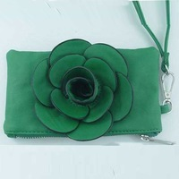 For Money/Phone/Keys PU Wallet Hand Bag With Rose Flower 300pcs/lot