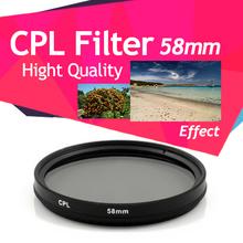 58mm CPL filtro polarizador circular para lente 18-55mm Canon 550D 600D 1100D(China (Mainland))