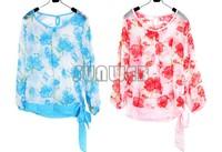 Fashion Women's Floral Print Pattern Chiffon Blouses Casual Puff Long Sleeve Tops Shirt Free Shipping 7134
