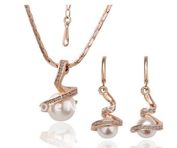Fashion 18K Gold Plated natural Pearl Jewelry Set Austrian SW Element Crystal new