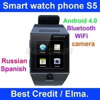 Free shipping Smart watch phone S5 ZGPAX android 4.0 smat phone 2.0Mp camera bluetooth wifi black Russian menu in stock! / Elma.