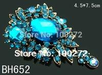 Wholesale Women's vintage zinc alloy rhinestone flower pendant brooch pin Free shipping 12pcs lot mixed color  BH652