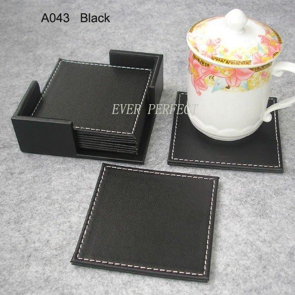 4 6pcs Set Square PU Leateher Coffee Tea Cup Pad Cup Mat