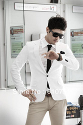 Free Shipping Hot Sale Jacket 2013 Outerwear Male Suit blazer white/blue/black/pink Casual Suit men Slim Formal Coat Dress(China (Mainland))