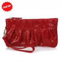 2014 Hot Women Snake Skin Bag Genuine Cow Leather wristlet evening clutch bags lady fashion coin purse handbag,YB918