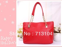 Free Shipping 2013 Fashion New Arrival 3D Red Dots PU Leather Handbags for women tote bags women with factory price