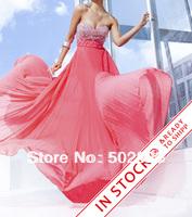 Chiffon Fabirc Handmake Pleat And Beading Sweetheart Crystal Evening Dress OL101920