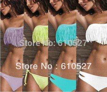 Sexy Lady Girl Padded Boho Fringe Top Strapless Dolly 2pcs Set Bikini Swimwear Drop Shopping Good Quality Tassel Beachwear