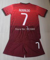 RONALDO home red 2014 high quality soccer jersey kits (jerseys + shorts), RONALDO 7 soccer jersey  (fans versions )